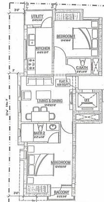 Rahul Lotus (2BHK+2T (828 sq ft) Apartment 828 sq ft)