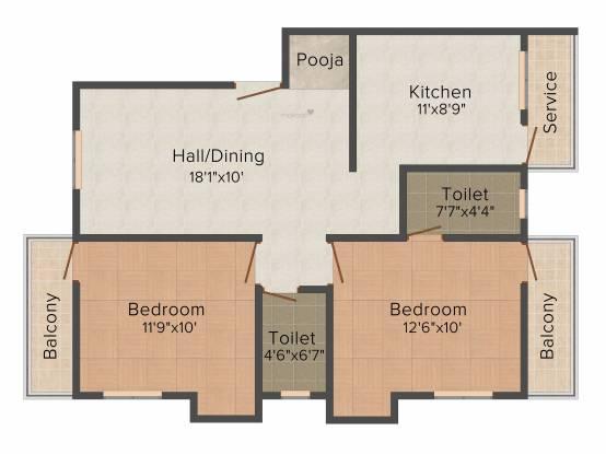 Sree Guru Kamadhenu (2BHK+2T (1,022 sq ft) + Study Room Apartment 1022 sq ft)