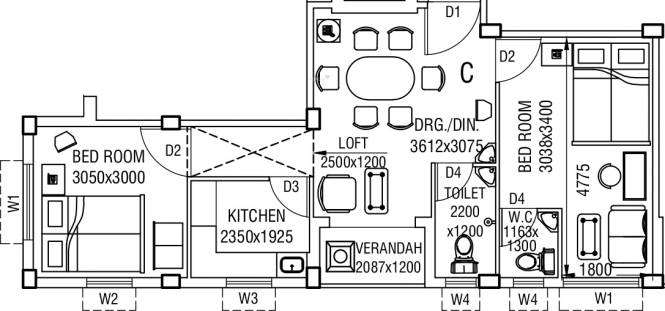 Pragati Cosmic Arcadia (2BHK+2T (838 sq ft) Apartment 838 sq ft)