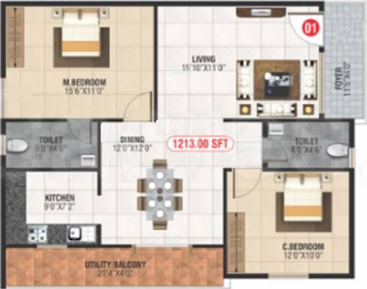 Neni Gagan Lake View (2BHK+2T (1,213 sq ft) Apartment 1213 sq ft)