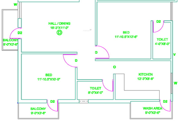 Revathy Neelangarai (2BHK+2T (950 sq ft) Apartment 950 sq ft)