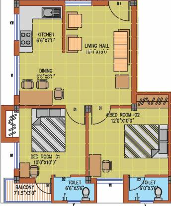 Visoka Swathi (2BHK+2T (810 sq ft) Apartment 810 sq ft)