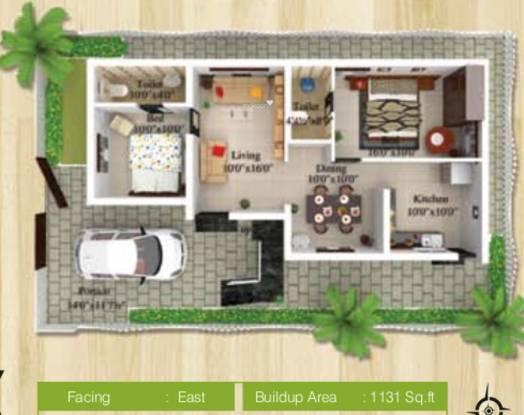 Sree Daksha Vhridhaa Villa (2BHK+2T (1,131 sq ft) Villa 1131 sq ft)