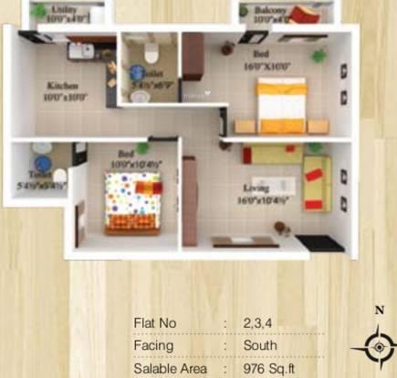 Sree Daksha Vhridhaa Apartment (2BHK+2T (976 sq ft) Apartment 976 sq ft)