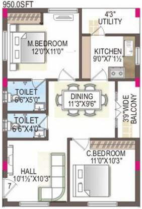 MMFC MM City (2BHK+2T (950 sq ft) Apartment 950 sq ft)