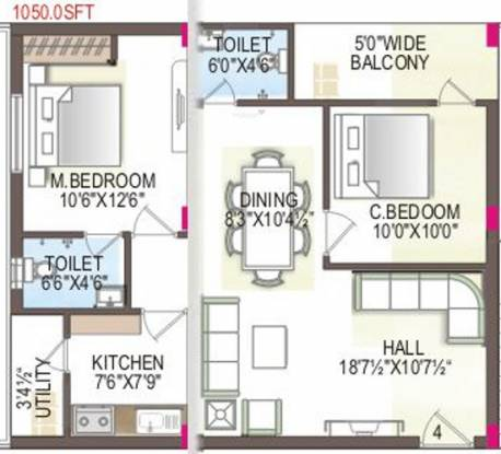 MMFC MM City (2BHK+2T (1,050 sq ft) Apartment 1050 sq ft)