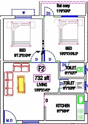 KB Neha Netra (2BHK+2T (732 sq ft) Apartment 732 sq ft)
