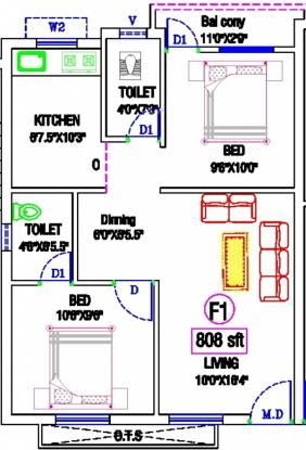 KB Neha Netra (2BHK+2T (808 sq ft) Apartment 808 sq ft)