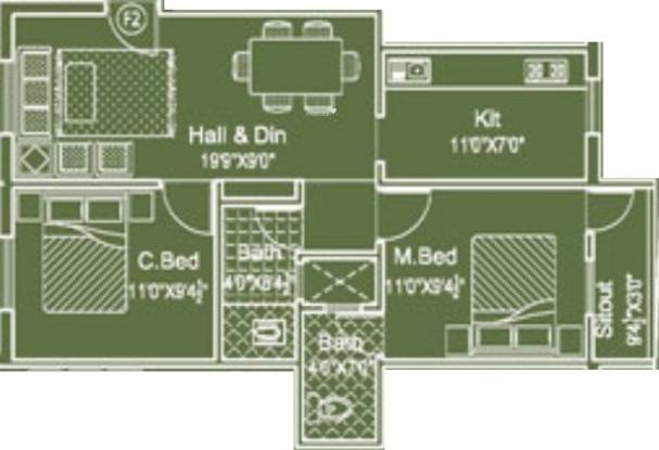 Ashreyah Solai Saral (2BHK+2T (774 sq ft) Apartment 774 sq ft)