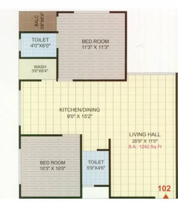 Narayan Coral Heights (2BHK+2T (1,242 sq ft) Apartment 1242 sq ft)