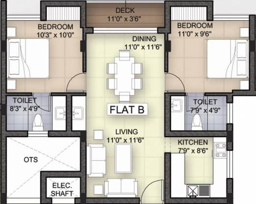Bhoomi White Rose (2BHK+2T (1,112 sq ft) Apartment 1112 sq ft)