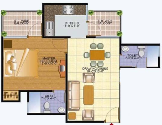 Samadhan Marvelous Residency (1BHK+2T (950 sq ft) Apartment 950 sq ft)
