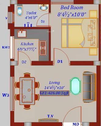 Chennai Marigold (1BHK+1T (426 sq ft) Apartment 426 sq ft)