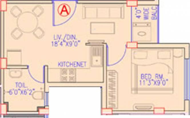 Banyan Jeevan Deep (1BHK+1T (487 sq ft) Apartment 487 sq ft)