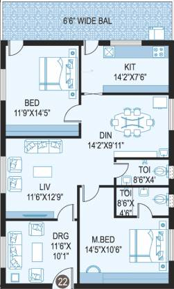 ZR Ivory Towers (2BHK+2T (1,610 sq ft) Apartment 1610 sq ft)