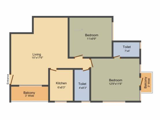 Metro Camelia Metro Garden (2BHK+2T (1,000 sq ft) Apartment 1000 sq ft)
