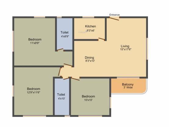 Metro Camelia Metro Garden (3BHK+2T (1,300 sq ft) Apartment 1300 sq ft)