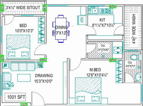 Gemini Pinnacle (2BHK+2T (1,001 sq ft) Apartment 1001 sq ft)