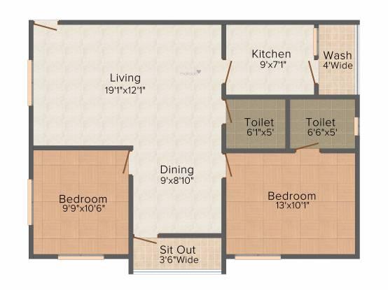 Gemini Pinnacle (2BHK+2T (1,006 sq ft) Apartment 1006 sq ft)