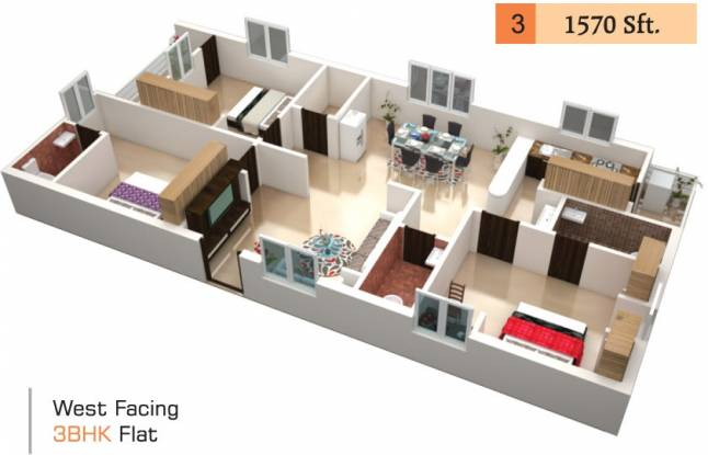 Swapna Vihar (3BHK+3T (1,570 sq ft) Apartment 1570 sq ft)