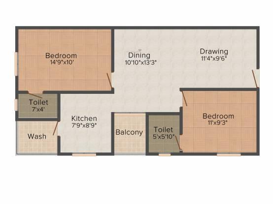 Krishna Krishna Dhaam (2BHK+2T (964 sq ft) Apartment 964 sq ft)
