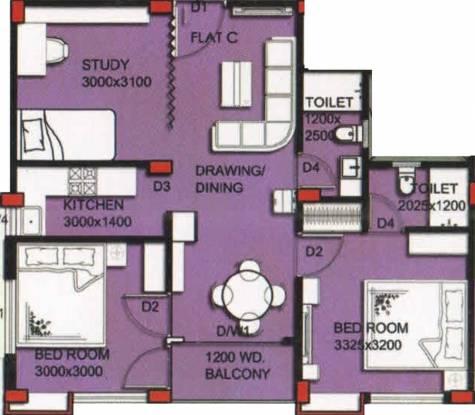 Maa Green City (2BHK+2T (955 sq ft)   Study Room Apartment 955 sq ft)