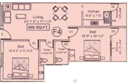 JHL Chengalpet (2BHK+2T (905 sq ft) Apartment 905 sq ft)