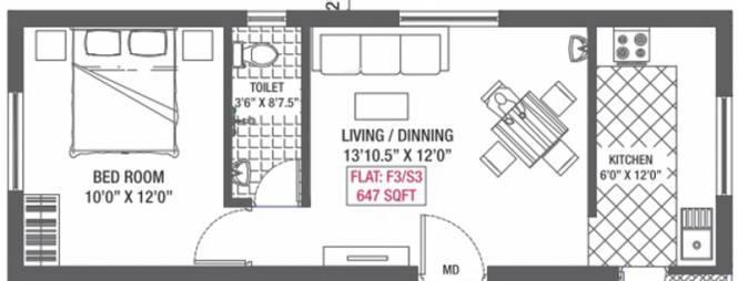 Colorhomes Color Delight (1BHK+1T (647 sq ft) Apartment 647 sq ft)