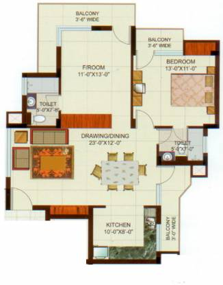 Ansal Woodbury (2BHK+2T (1,200 sq ft) Apartment 1200 sq ft)
