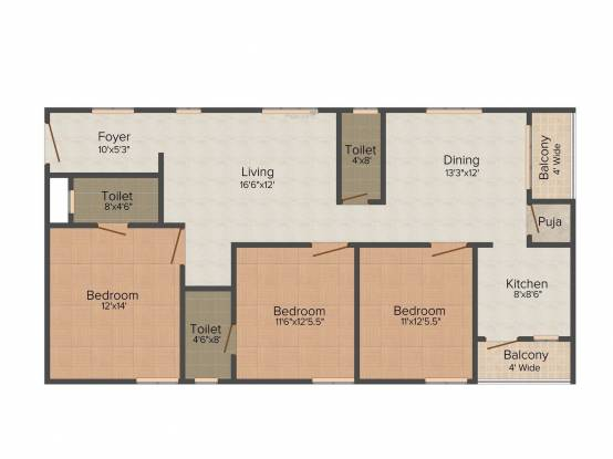 Prakruthi AGR Castle (3BHK+3T (1,608 sq ft) Apartment 1608 sq ft)