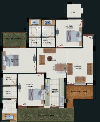 Royale Mansions (3BHK+3T (1,900 sq ft) Apartment 1900 sq ft)