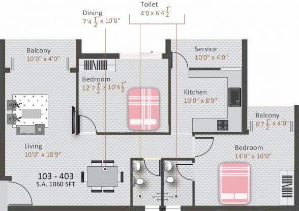 Kamalam Pleasanta (2BHK+2T (1,060 sq ft) Apartment 1060 sq ft)