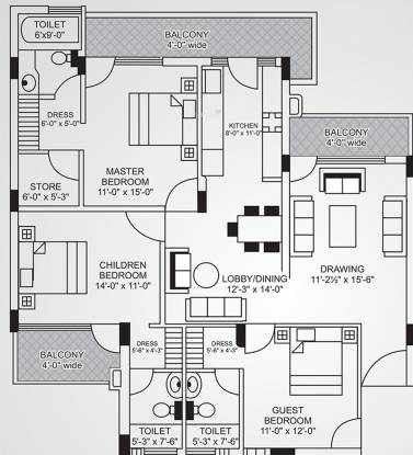 Royale Balaji Towers (3BHK+3T (1,900 sq ft) Apartment 1900 sq ft)