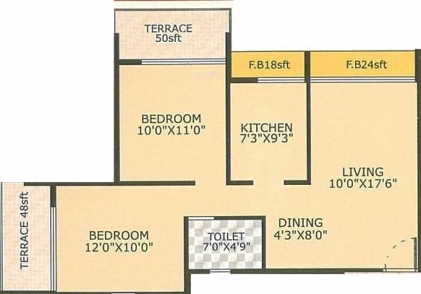 Suncity Avenue (2BHK+1T (1,130 sq ft) Apartment 1130 sq ft)