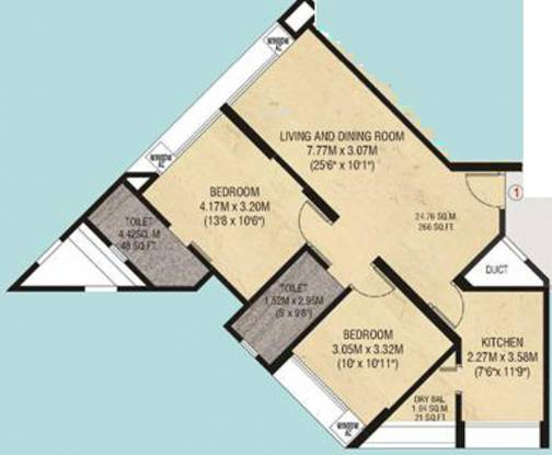 Godrej Garden Enclave (2BHK+2T (975 sq ft) Apartment 975 sq ft)