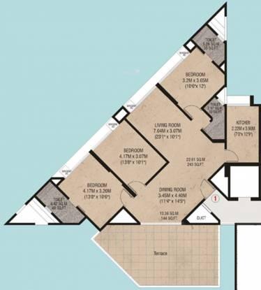 Godrej Garden Enclave (3BHK+3T (1,410 sq ft) Apartment 1410 sq ft)