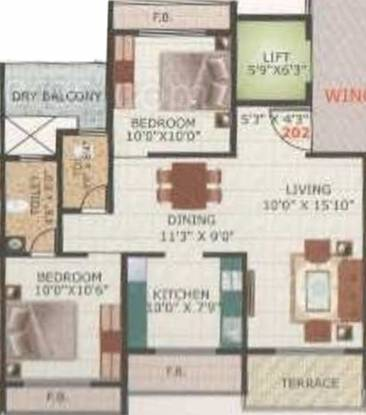 Mahakali Patel Park (2BHK+2T (1,175 sq ft) Apartment 1175 sq ft)