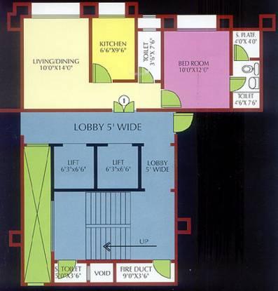 Ansal Whispering Meadows (1BHK+2T (609 sq ft) Apartment 609 sq ft)