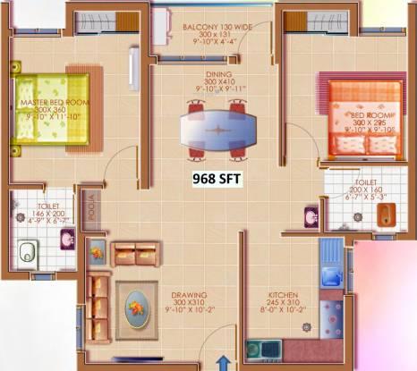 Deccan Apporva (2BHK+2T (968 sq ft)   Pooja Room Apartment 968 sq ft)
