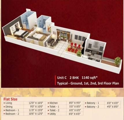 Vastav Sneha Enclave (2BHK+2T (1,140 sq ft) Apartment 1140 sq ft)