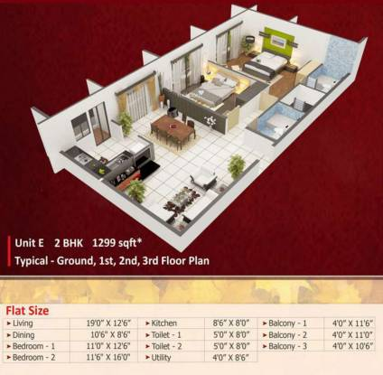 Vastav Sneha Enclave (2BHK+2T (1,299 sq ft) Apartment 1299 sq ft)