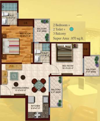 Skytech Colours Avenue (2BHK+2T (870 sq ft) Apartment 870 sq ft)