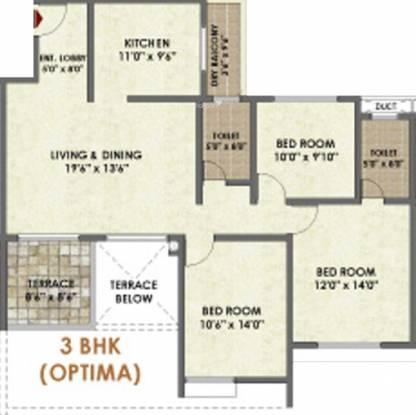 Pride Platinum (3BHK+2T (1,405 sq ft) Apartment 1405 sq ft)