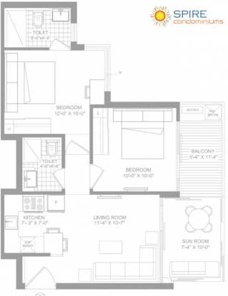 Spire Condominiums (2BHK+2T (1,000 sq ft) Apartment 1000 sq ft)