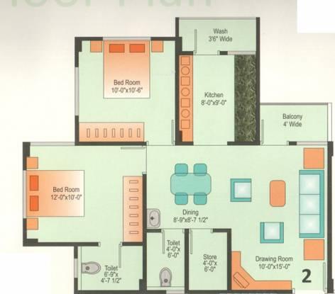 Devraj Residency (2BHK+2T (1,035 sq ft) Apartment 1035 sq ft)