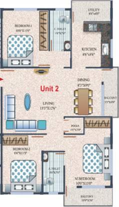 Nishitas Nandhanam (3BHK+2T (1,130 sq ft)   Pooja Room Apartment 1130 sq ft)
