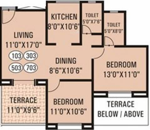 G K Daffodils Housing Society (2BHK+2T (985 sq ft) Apartment 985 sq ft)