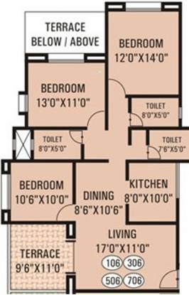G K Daffodils Housing Society (3BHK+3T (1,300 sq ft) Apartment 1300 sq ft)