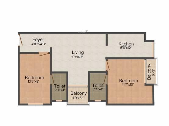 Apaar Serene (2BHK+2T (868 sq ft) Apartment 868 sq ft)