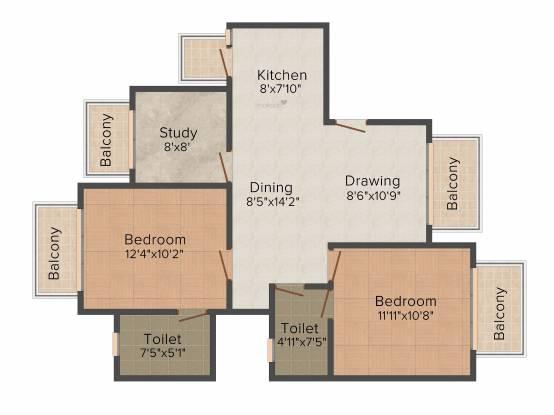CHD Paradiso (2BHK+2T (1,075 sq ft) + Study Room Apartment 1075 sq ft)